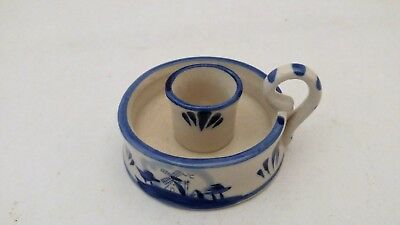 Hand Painted Delft Holland Blue Blauw White Windmill Scene Candle Holder 017010