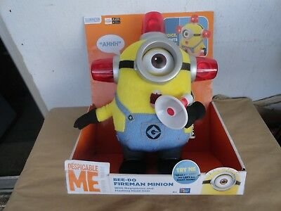"New & RARE! Despicable Me 2 12"" Talking Lights & SFX BEE-DO Fireman MINION Toy"