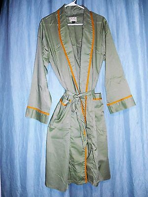 VTG NEW men Hampshire House Van Heusen soft green cotton blend wrap robe S M 195