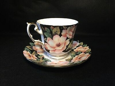 Pretty Crownford Queens 'Midnight Bloom' China Floral Cup & Saucer