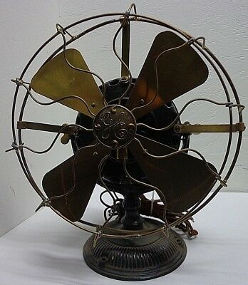 GE General Electric Motor Ceiling Fan Pat'd July 31, 1900 Iron Base Brass Blades