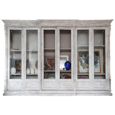 15 ft Amazing Original Antique French Hand Painted Library Bookcase