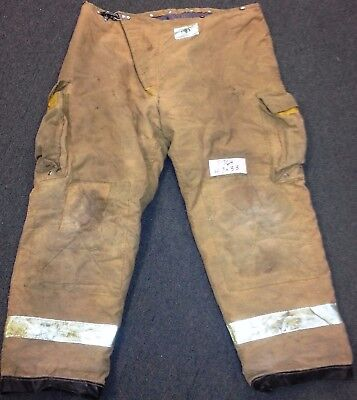 47x33 Firefighter Pants Bunker Fire Turn Out Gear Tan Brown Morning Pride P764