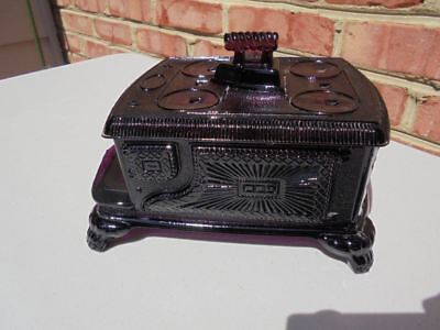 Antique EAPG Pattern Glass Amethyst Stove w Iron Cov Butter or Candy 1880s King