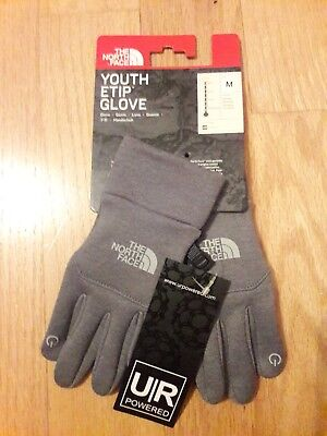 NWT North Face Unisex Youth/Jr Gloves Gray Etip E-Tip Tech Lightweight Lined M