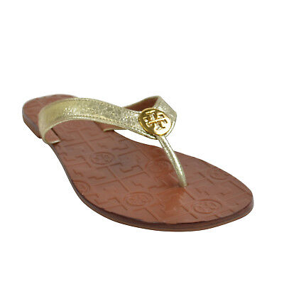 39931672e6b8 NIB Tory Burch Thora Reverse Metallic Leather Thong Sandals in Spark Gold Size  8