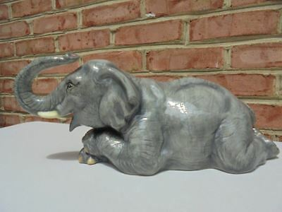 """The Townsends Large Ceramic Hand Decorated Elephant Figure Trunk Up 18"""""""