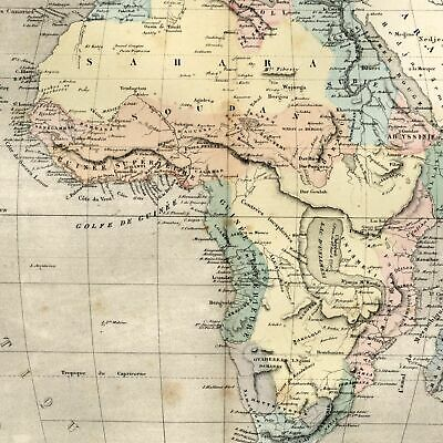 Africa remarkable mythical lake & Mts. of Moon 1855 Dufour old map