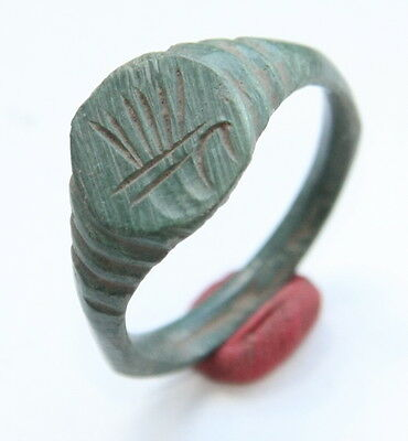 Ancient Old Medieval Bronze Ring With Bird Image (JUL01)