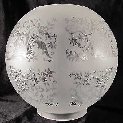 """FLORAL PANEL SCENE GAS LAMP SHADE 4"""" fitter etched glass oil, 8"""" ball"""