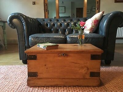 Old Antique PINE CHEST, Small Wooden TRUNK, Vintage Storage BOX, Coffee TABLE