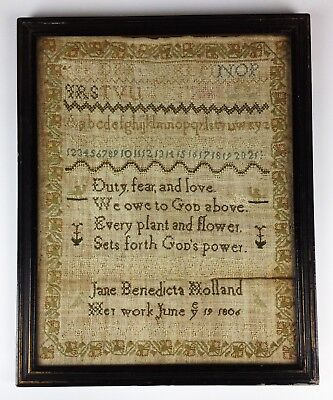 Jane Benedicta Holland- Antique 1806 Georgian Needlework Sampler- East Sussex
