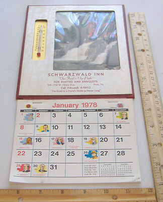 ~Schwarzwald Inn~Phila., Pa~1978 Calendar With Thermometer~