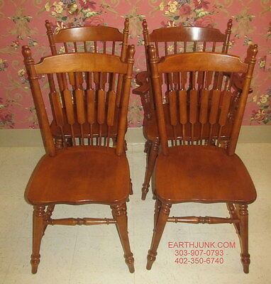 Tell City Set of 4 Andover Cattail 1 Arm and 3 Side Chairs Hard Rock Maple