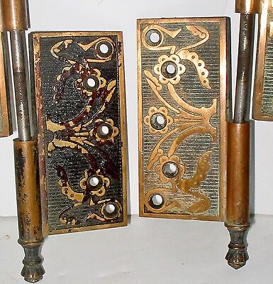 LP Beautiful Antique Art Nouveau Door Hinges for Restoration Lot 393