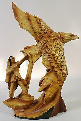 NATIVE AMERICAN HUNTING BALD EAGLE FAUX WOOD CARVING Figurine Statue Indian NEW
