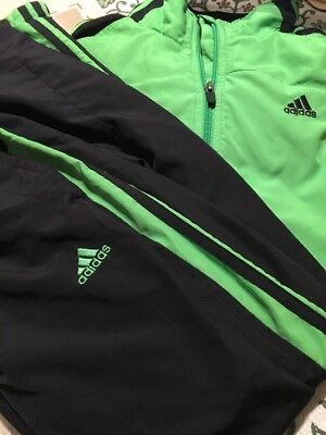 Adidas Clima365 Mens Sport Warm Up Track Suit Jacket Pants Black / Green Size L