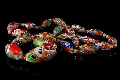 Vintage Art Deco Millefiori Murano Venetian Art Glass Beads Necklace D81-13