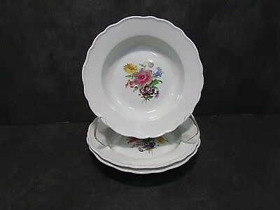 "Set of  Meissen Hand Painted Botanical Flowers 9 1/2"" Bowls"