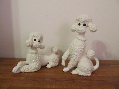 Vintage Ceramic Two Large Glossy WHITE POODLE Figurines Atlantic Mold