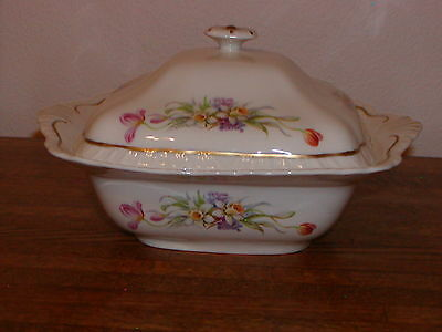 """Vintage? Warwick China Covered Serving Bowl Pattern 11.5"""" Gold Trim Made in USA"""