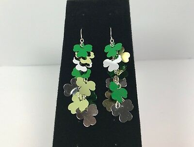 Claire's St Patricks Day Earrings Hanging Shiny Shamrocks Cluster 2.5in Long