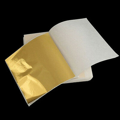 Gold 24K *100 DIY  Leaf Sheets. For Art Crafts Design Gilding Framing Scrap HOT