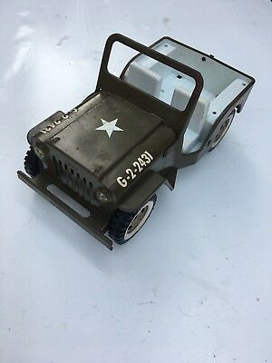 Vintage Tonka Army / Military Jeep 1960s with Folding Windshield! CONVERTIBLE