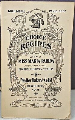Rare 1902 Walter Baker & Co. 78 Page CHOCOLATE ADVERTISING RECIPE BOOKLET NR