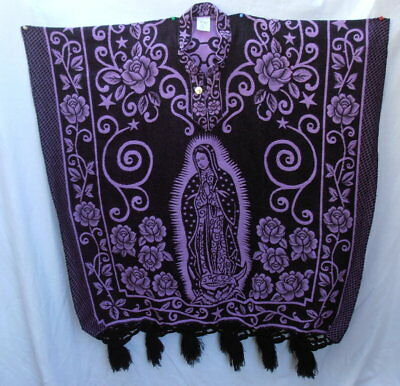 Our Lady of Guadalupe Virgin Mary Hand Woven Poncho Mexico Purple Serape