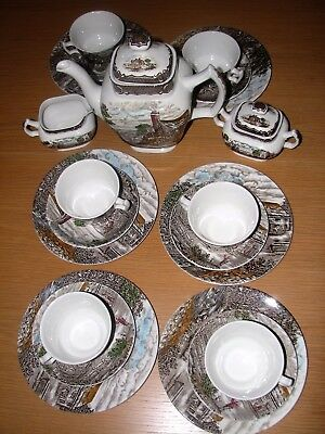 21 ps brown transferware Wood & Sons THE POST HOUSE complete coffee set for 6