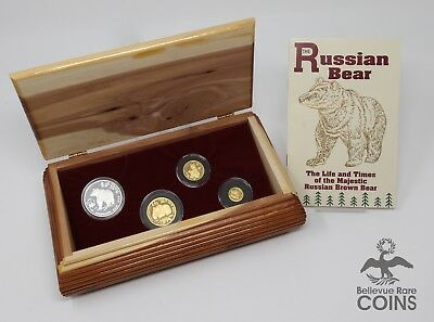 RARE 1993 Russian Brown Bear Gold & Silver 4-Coin Rouble Proof Set - Wildlife