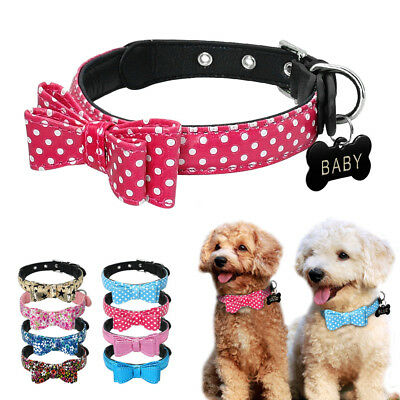 Cute PU Leather Personalized Dog Collars Small Bowknot Studded Free Engraved