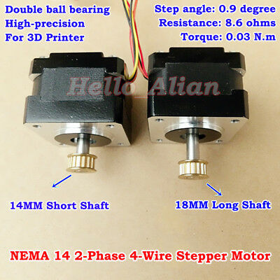 NEMA14 2-phase 4-wire 0.9Deg Precision Stepper Motor Pulley DIY CNC 3D Printer
