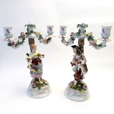 Pair of Rare Antique 18th C. Derby Porcelain Figural Candelabras Candlesticks