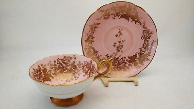 Coalport 10163 Pink & Gold Orchids Encrusted Cup & Saucer Set