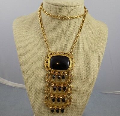 Vintage Long Gold Tone Metal & Black Lucite Necklace w/ Dangles Fringed 24""