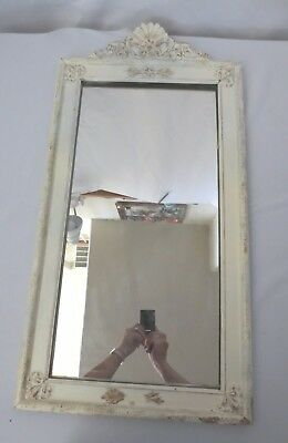Antique Vtg Shabby Chippy paint Wood Wall Mirror Chic French Cottage