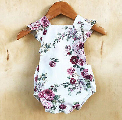 US Stock Newborn Toddler Baby Girl Floral Bodysuit Romper Outfit Clothes Sunsuit