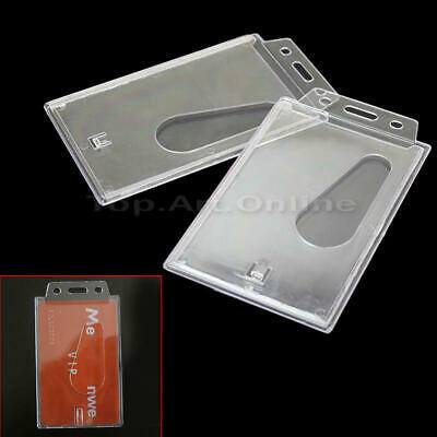 2x Hard Plastic Clear Vertical Pocket Holder For Badge ID Pass Student Cards