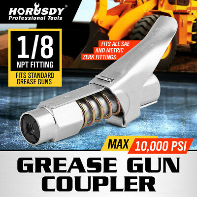 Grease Coupler, locks on like air chuck, for Zerk grease fittings HORUSDY