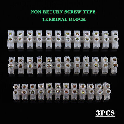 3x 12 Way Barrier Screw Terminal Block Wire Connection Connector Strip 3A 6A 10A