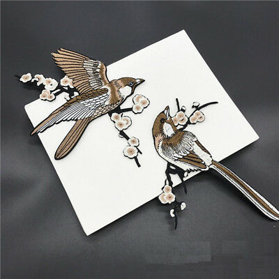 1 Pair Bird Embroidered Patches Iron on Sewing Stripe for clothes applique J&C