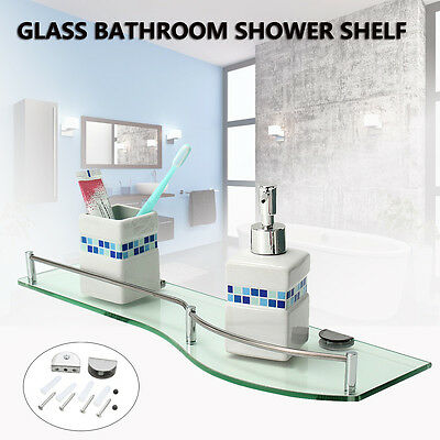 Rectangular Bathroom Glass Shower Storage Shelf Wall Mounted Holder Stand 48.5cm