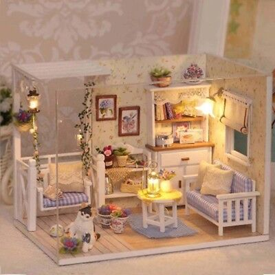 Doll House Furniture Kids DIY Miniature  Dust Cover 3D Paper Dollhouse Toys New