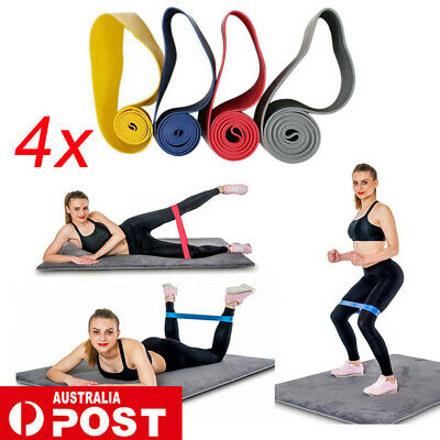 4 SET Heavy Duty POWER YOGA RESISTANCE BANDS LOOP Fitness Gym Exercise Workout