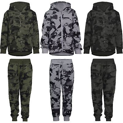 Kids Camouflage Print Tracksuit Teens Boys Hooded Top Jogging Bottoms 3-14 Years