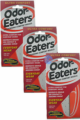 6 x ODOR-EATERS ULTRA COMFORT DEODORISING INSOLES EVERYDAY WEAR, WASHABLE