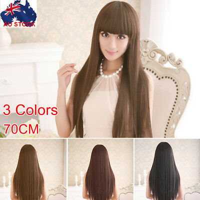 Long 70CM Sleek Straight Hair Synthetic Full Wigs with Blunt Bangs Party wig