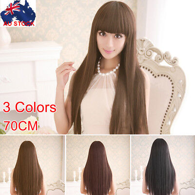 New 70cm Straight Sleek Long Full Hair Wigs w Side Bangs Cosplay Costume Womens